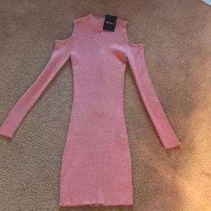 Pink ribbed mock neck cold shoulder dress